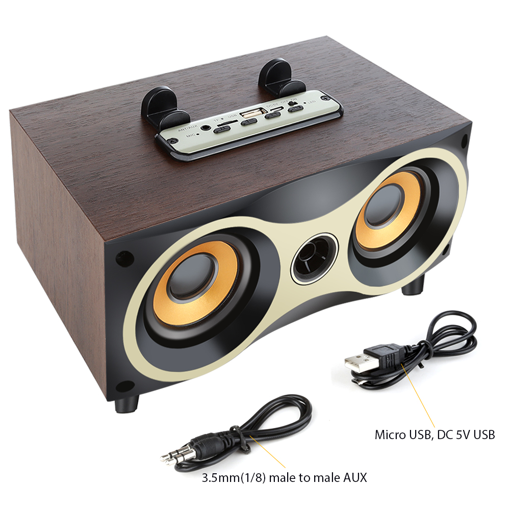Retro Wooden Wireless Speaker Dual Bass stereo Altavoz Support U-disk FM radio Bluetooth Speakers for iPhone Android 4
