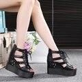 Women High Heeled Sandals Summer Wedges Women Sandals thick sole platform sandals Peep Toe Roman Shoes Women ankle Strap Sandals