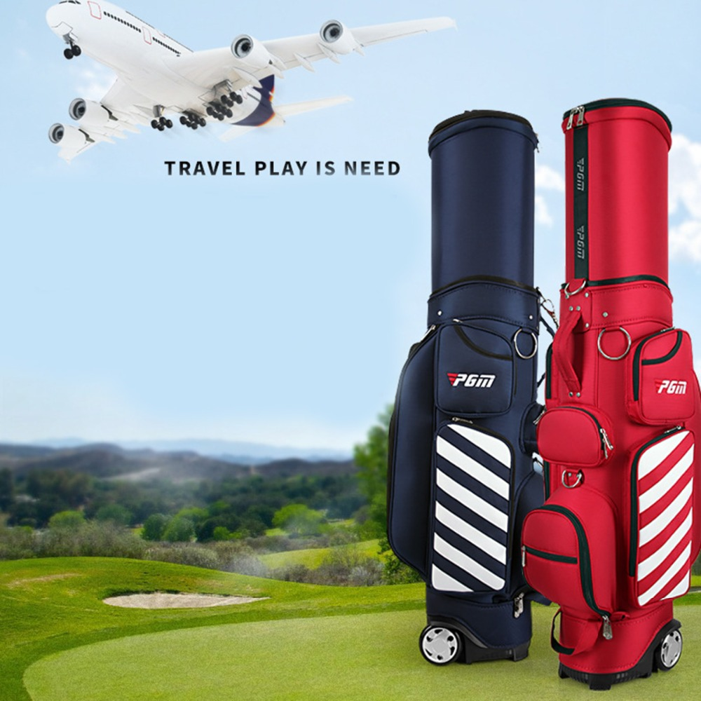 PGM Golf Standard Bag Adjustable Men Golf Air Bag Women Telescopic Ball Bag Baldric Pulley Multi function Cover with Hard Shell