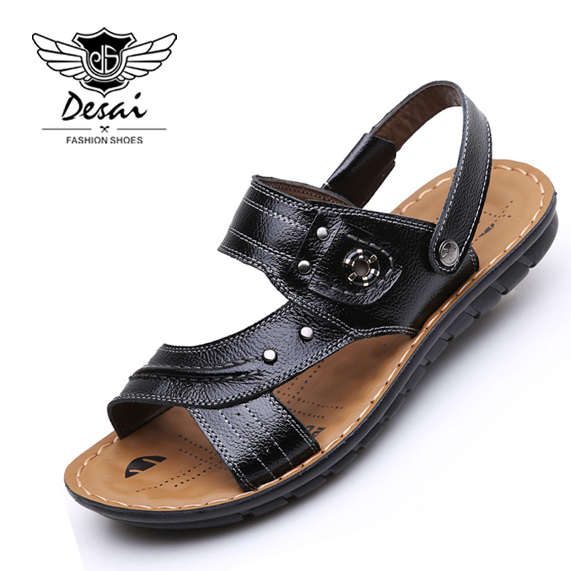 DEASI Brand Genuine Leather Shoes Men Beach Shoes Toes Breathable Sandals Dual-use Sandals Outdoor Beach Shoes Slipers
