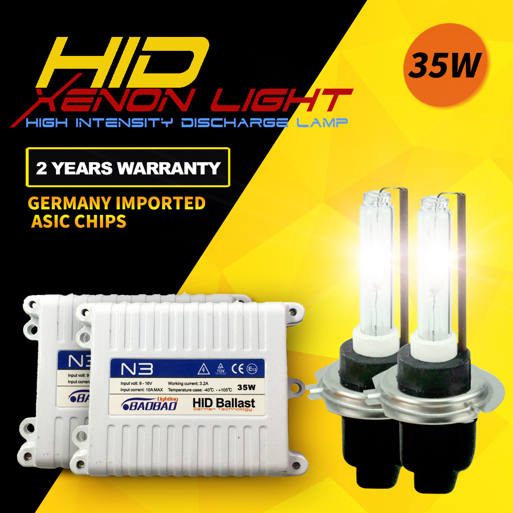 BAOBAO N3 35 W Kit de phare de voiture HID 3200Lm Super lumineux Standard Ballast numérique complet voiture-style H1 H4 H7 H11 pour Toyota Honda