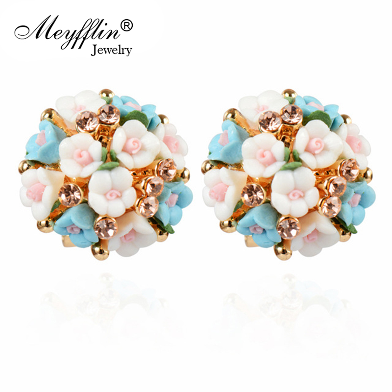 Stud Earrings for Women Boucle d'oreille Jewelry Brincos Crystal Pendientes Mujer 2019 Fashion Flower Earrings Christmas Gifts