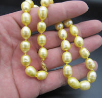 Charming 18 11 13mm Natural south sea yellow pearl necklace Gold