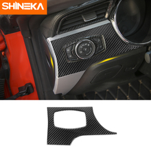 цена на SHINEKA Carbon Fiber Car Headlight Switch Trim Frame Button Panel Trim Protective Stickers For Ford Mustang 2015+ Accessories