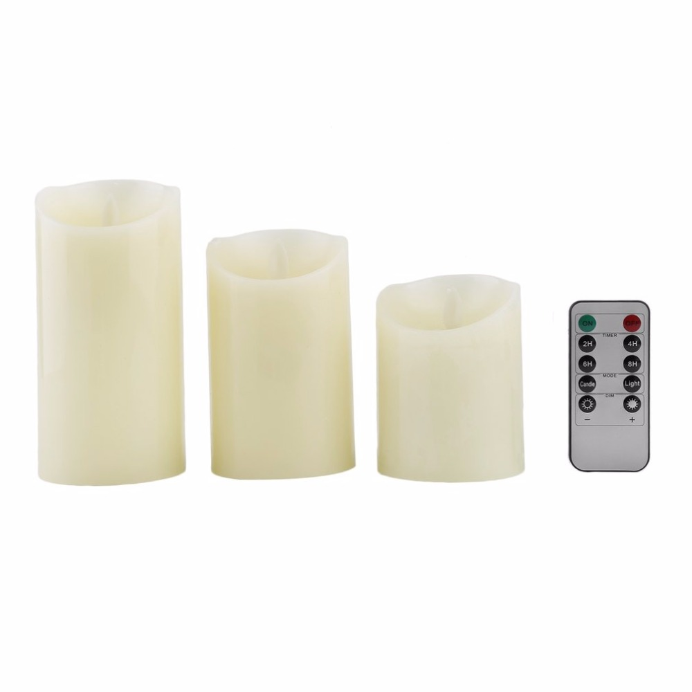 3 pcs/set Electronic Flickering Flameless LED Candle Dancing Battery Wax Tea Light Home Wedding Birthday Party Decoration