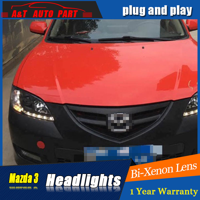 car Styling LED Head Lamp for Mazda 3 led headlights 2006-2012 for Mazda 3 head lamp drl H7 hid Bi-Xenon Lens angel eye low beam auto part style led head lamp for toyota tundra led headlights 09 11 for tundra drl h7 hid bi xenon lens angel eye low beam