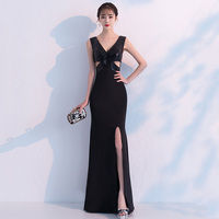 Black Diamond Hollow Out V Neck Sleeveless Sexy Long Elegant Wedding Party Dress Slim Waist Night Club Woman Dresses 2019