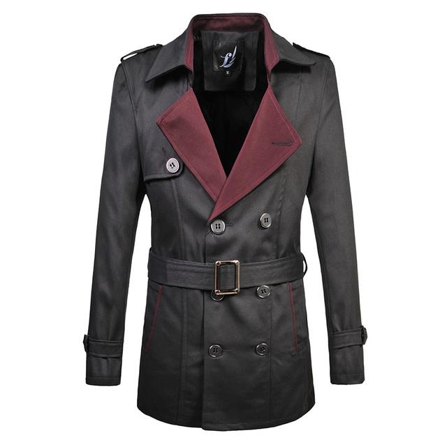 Primavera Estilo britânico dos homens de Negócios de Moda Clássico Trench Coat Trespassado com Cinto Top Quality Big Size M-6XL