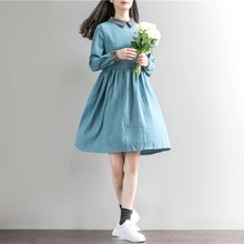 2017 Woman Retro Vintage Cotton Long Sleeve Loose A Line Solid Short Dresses Solid Plain Polo Neck Casual Oversize Dress