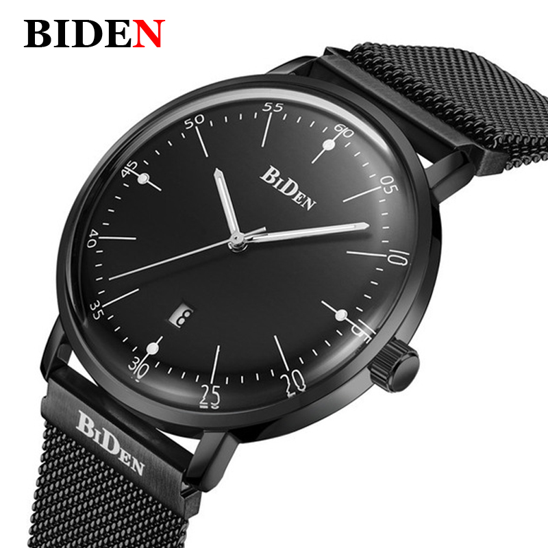 BIDEN Top Luxury Brand Watch Men Mens Watches Stainless Steel Mesh Band Quartz Watch Fashion Wrist watch Relogios masculino купить