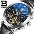 Genuine swiss binger marca men self-vento pulseira de couro à prova d' água mecânico automático masculino relógio turbilhão mostrador preto moda