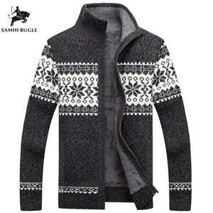 Winter Men's Cardigan 2020 New Men's Casual Sweaters Warm Plus Velvet Men's Zipper Cardigan Knitted Stand Collar Sweaters
