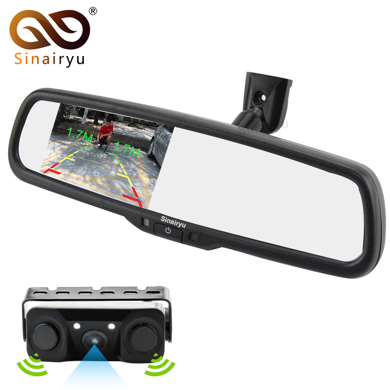 Sinairyu 2in1 Original Bracket 4.3 Car Room Interior Mirror Parking Monitor With Rear View Camera and Video Parking Sensor sinairyu 2in1 7 inch car video parking monitor mp4 mp5 car mirror monitor sd usb with rear view camera hands free