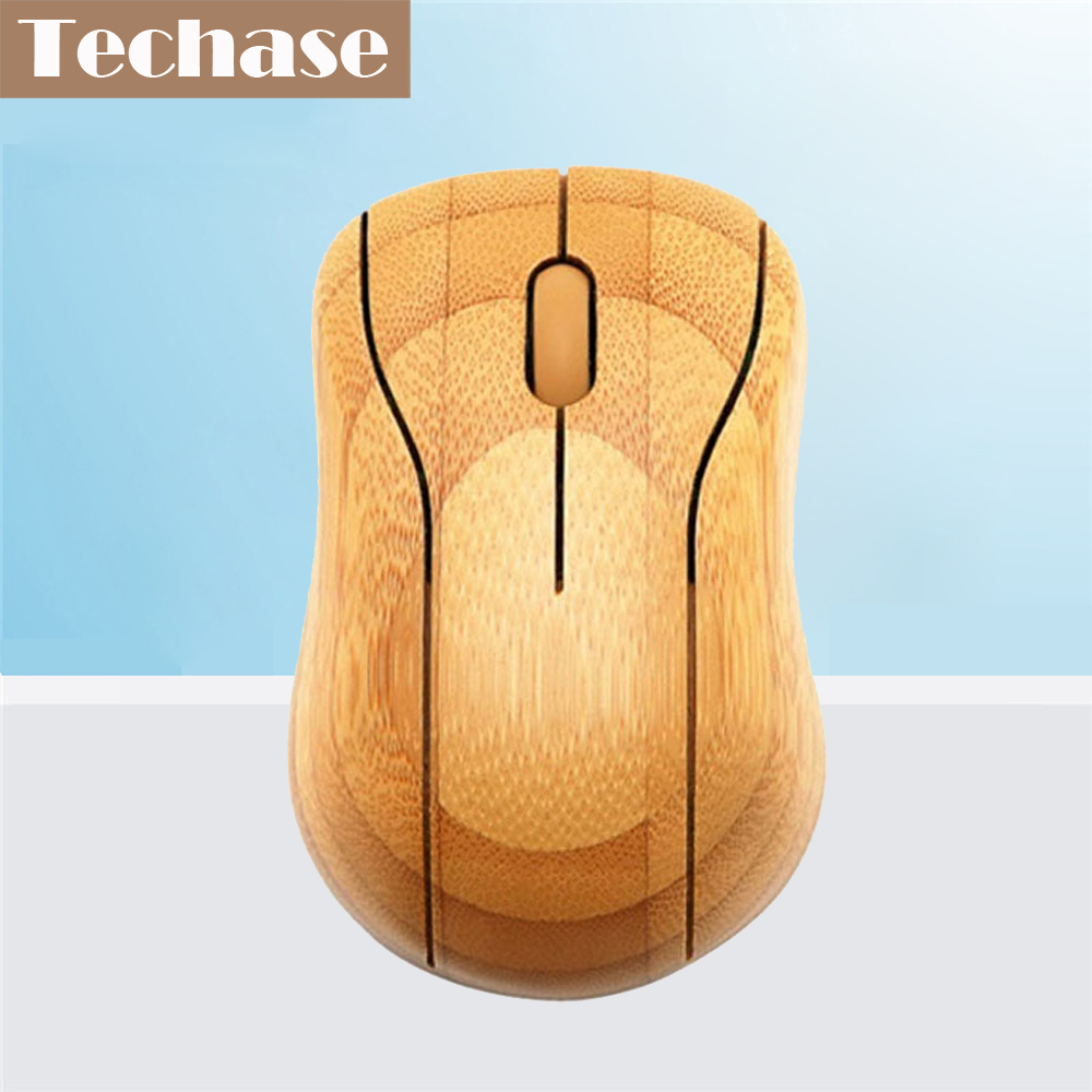 Techase Wireless Mouse MG95 Raton Inalambrico Bamboo 2.4GHz USB Mause Souris Ordinateur Gaming Dator Mus Souris Sans Fil