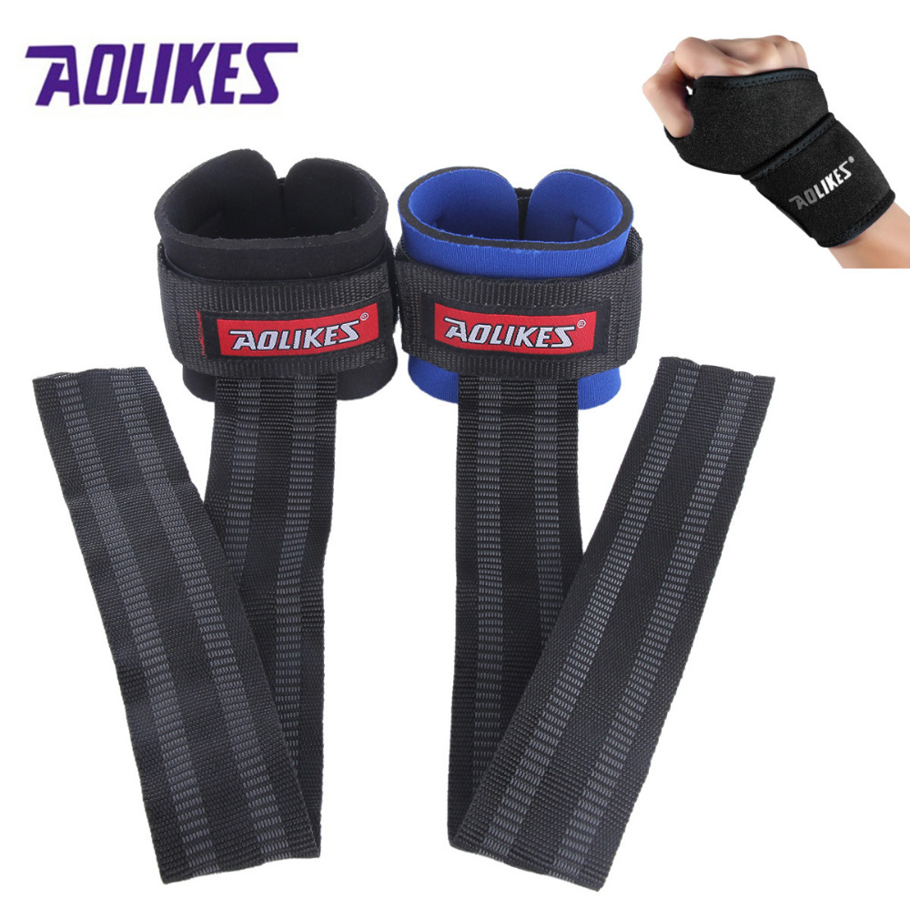 AOLIKES 1Pair Anti-slip Wristband Adjustable Hands Wrist Support Brace For Gym Weightlifting Fitness Thicken Sports Protector