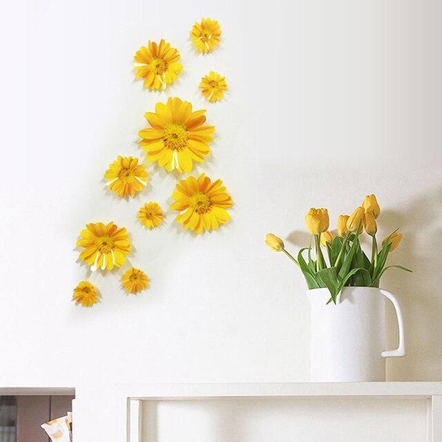 Daisy Kitchen Decor: 1Set 3D Wall Sticker Flowers Decorative Combination DIY