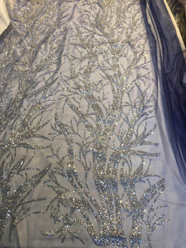 Shinning SILVER hand print glued glitter tulle mesh African lace fabric for wedding dress/evening dress/party