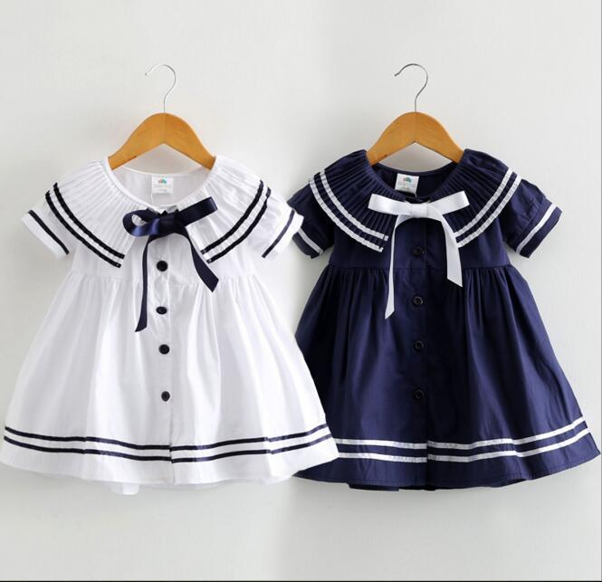 2016 Summer New Girls Naval Academy Style Dresses Children Bow Dress Baby Casual Short Sleeve Dresses