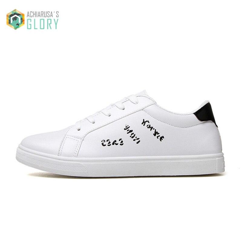 Prix pour 2016 Nouveau Automne Véritable Cuir Hommes Skate Chaussures Blanc nouveau coupe-Bas Laçage Hommes Sneakers 39-44 Plus taille