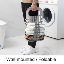 1pcs Laundry Basket Foldable Laundry Hamper With No Drilling Hook For Dirty Clothes Baskets Kitchen Storage Holder Organizers