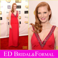 Jessica Chastain Dress Evening Prom Red Beaded V Neck Critics Choice Awards 2013 Red Carpet