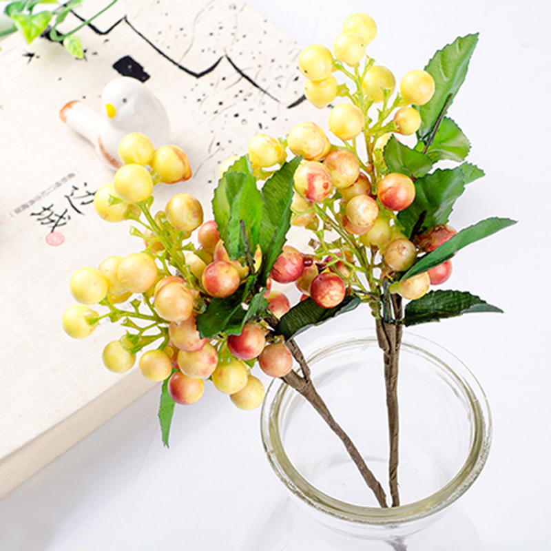 1 Piece Mini Fake Foam Fruit Small Berries Artificial Flower cherry Bouquet Stamen Wedding Home Christmas Decorative in Artificial Dried Flowers from Home Garden