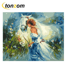 RIHE Girl With Horse Diy Painting By Numbers Abstract Animal Oil On Canvas Cuadros Decoracion Acrylic Wall Art 2018
