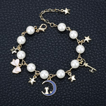 MQCHUN Jewelry Sailor Moon Charm Bracelet Cardcaptor Sakura Cute Cat Moon Star Crystal Imitation Pearl Bangle Bracelet Wristlet(China)