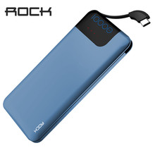 ROCK Quick Charge Power Bank 10000mAh 5V/9V/12V Smart QC 3.0 Powerbank with Digital Display TYPE C Portable External Battery