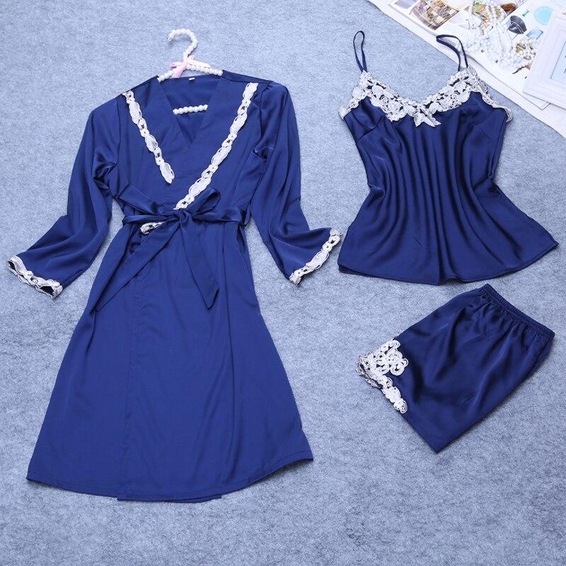3 kusy dámské sexy hedvábné saténové šaty sada na spaní včetně županu + top + kalhoty 3 kusy výšivka noční nošení domácí oblečení na léto