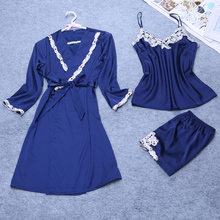 3 Pieces Women Sexy Silk Satin Robe Set Sleepwear Set Include Robe+Top+Pant 3 pieces Embroidery Night Wear Home Wear For Summer