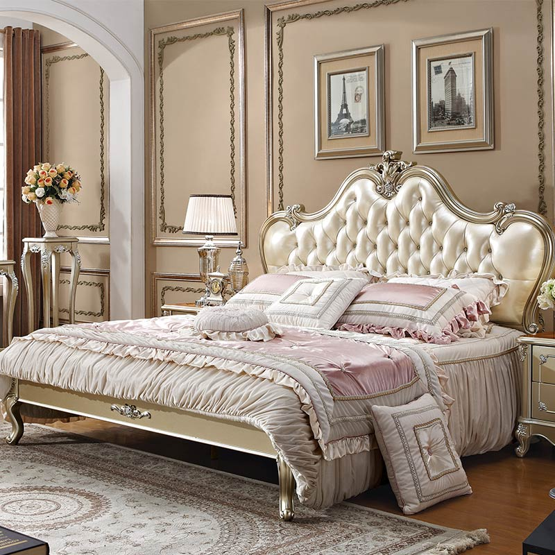 US $969.0 |Champagne Silver French Style Bedroom Furniture Modern with  Images Beds-in Bedroom Sets from Furniture on AliExpress