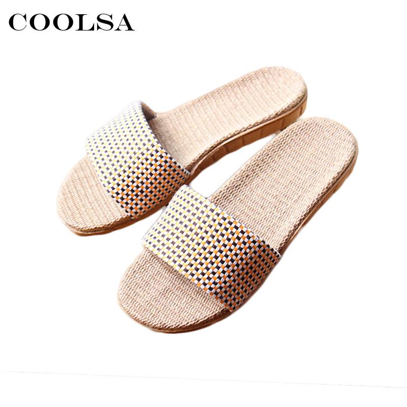 Coolsa Hot Summer Women beach Sandals Linen slippers Flax Plaid Fabric Flat Non Slip Indoor Flip Flop Women Casual Straw Shoes coolsa new summer linen women slippers fabric eva flat non slip slides linen sandals home slipper lovers casual straw beach shoe page 3