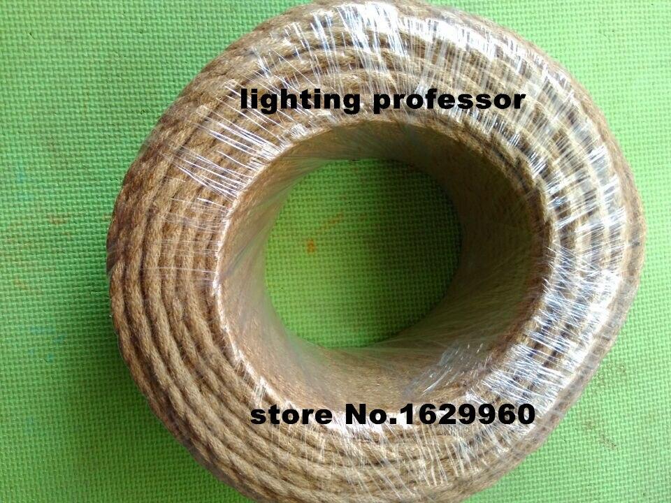 100 m 2 core rétro tressé électrique fil tissu câble bricolage pendentif lampe fil vintage chanvre corde torsadé câble métallique - 4
