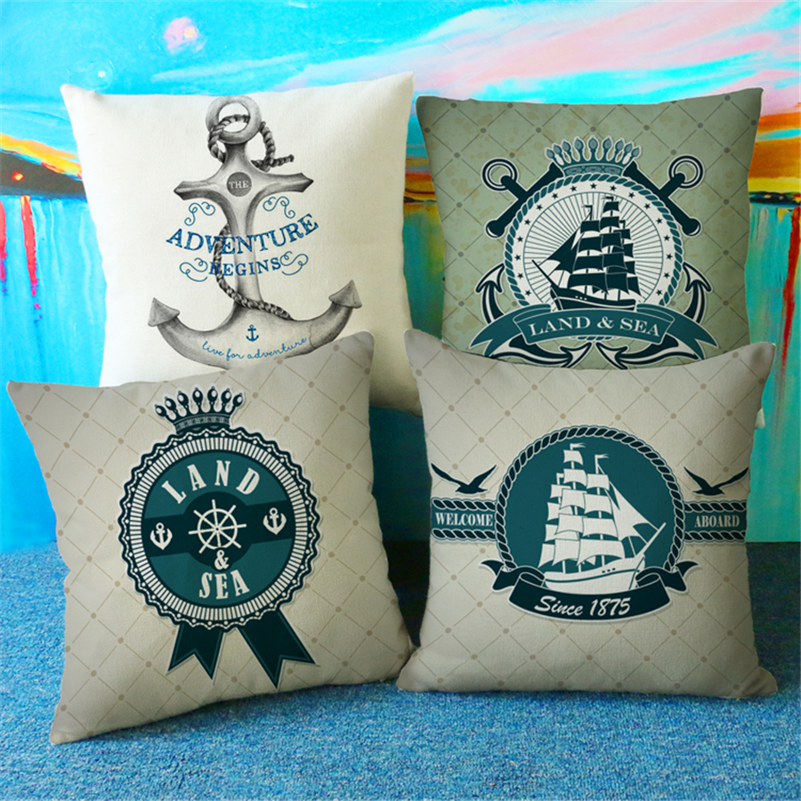 Marine Decoration Map Sail Boat Anchor Home Decor Sofa Throw Pillow Case Vintage Cushion Covers Home Decor Fashion New e893
