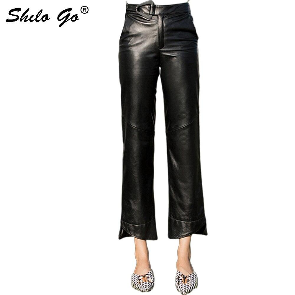 Streetwear Leather Pants Women Elegant Belt High Waist Sheepskin Genuine Leather Asymmetry Pants Concise Female Straight Capris