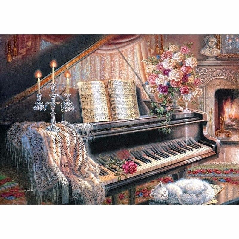 5D DIY Needlework Diamond Embroidery Diamond Painting Cross Stitch Piano And Sleeping Cat Landscape Rhinestones Painting Decor
