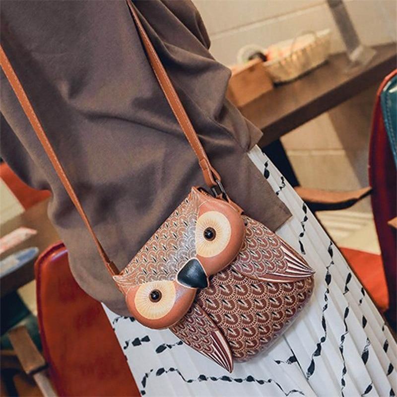 2018 New Fashion Cute Owl Travel Bags for women PU female ladies Crossbody Shoulder Bag Messenger Girls Cartoon Phone Travel Bag