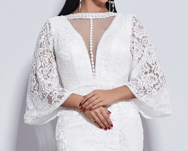 Poems Songs 2019 new elegant Flare sleeve style lace wedding dress for wedding Vestido de noiva Mermaid  ivory / white color 3