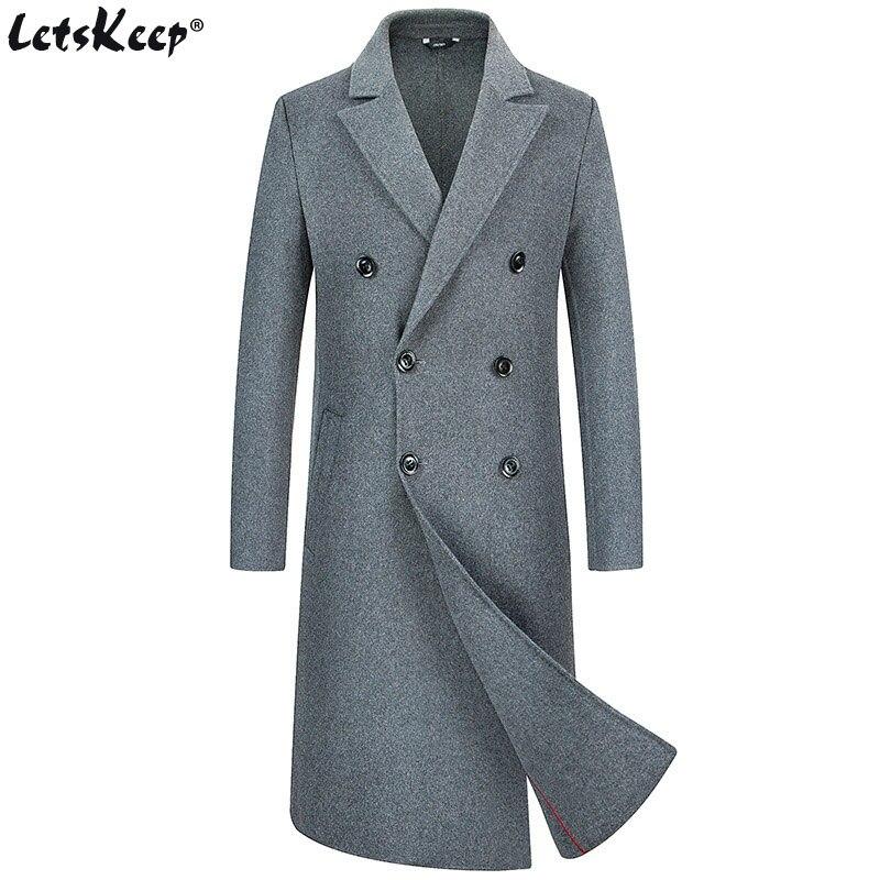 Letskeep New Winter Woolen Long Peacoat men 70 wool slim double side wool overcoat mens warm Windbreaker trench coat, ZA565