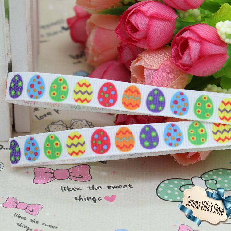 3/8 inch Egg Easter Printed Grosgrain Ribbon Hairbow Diy Party Decoration 9mm birthday gift paking top high quality