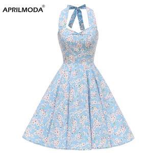 Летнее женское платье с лямкой на шее, Хлопковое платье с цветочным принтом, винтажное платье в стиле ретро, 60s 50s