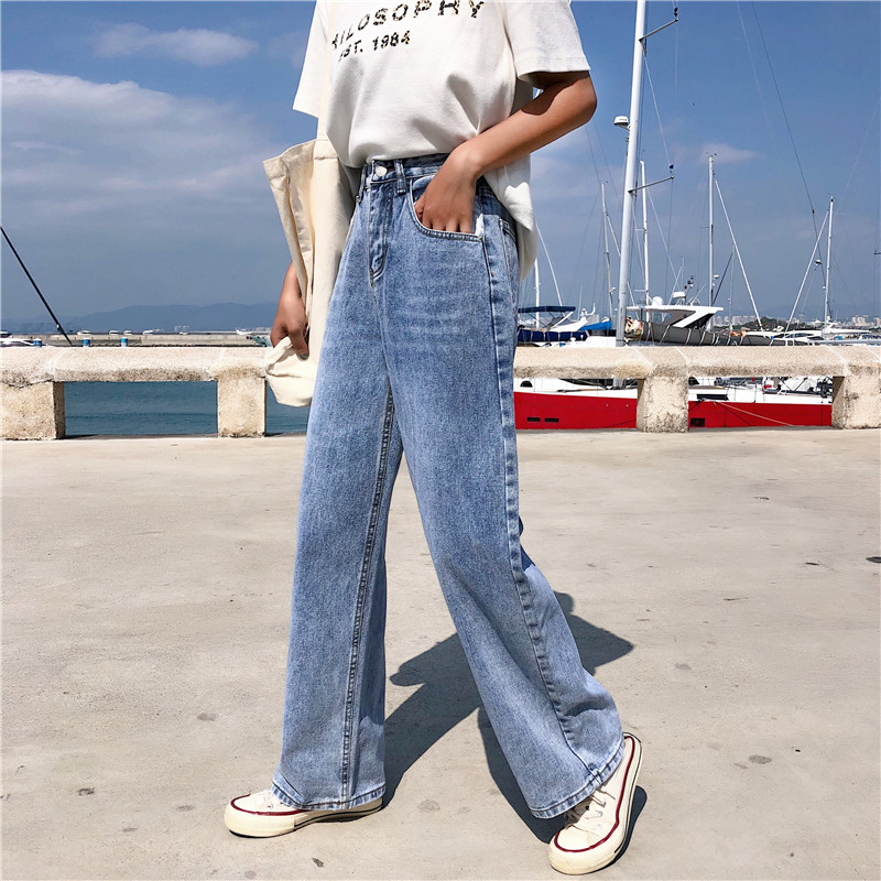 S-XL 2019 korean style loose high waist   jeans   Femme women straight wide leg light blue denim   jeans   womens (Z8609)