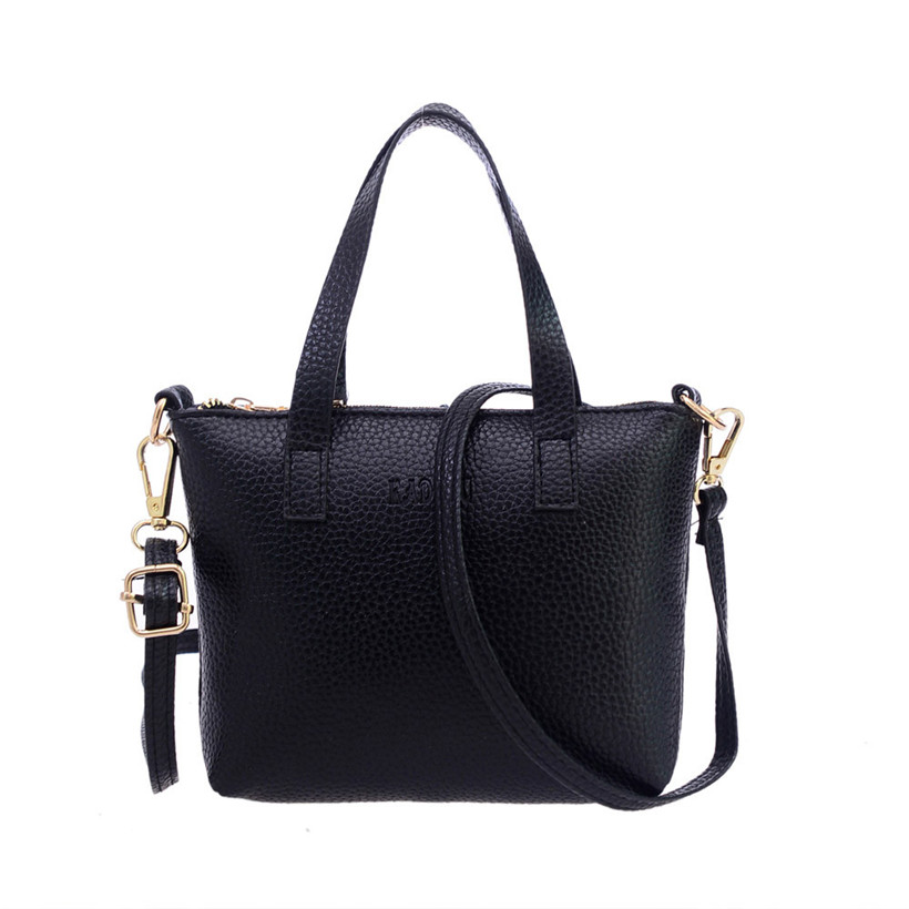 все цены на Women PU Leather Crossbody Bag New Fashion Casual Ladies Shoulder Bag with Handle Tote Black Messenger Bags 2018 Luxury Handbags