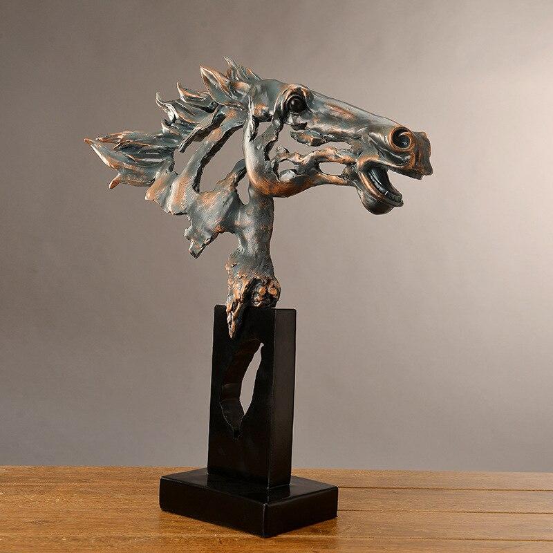 Rétro 60cm créatif manuel artisanat tête de cheval figure statue résine animal guerre cheval ornements modèle maison chambre décoration cadeau