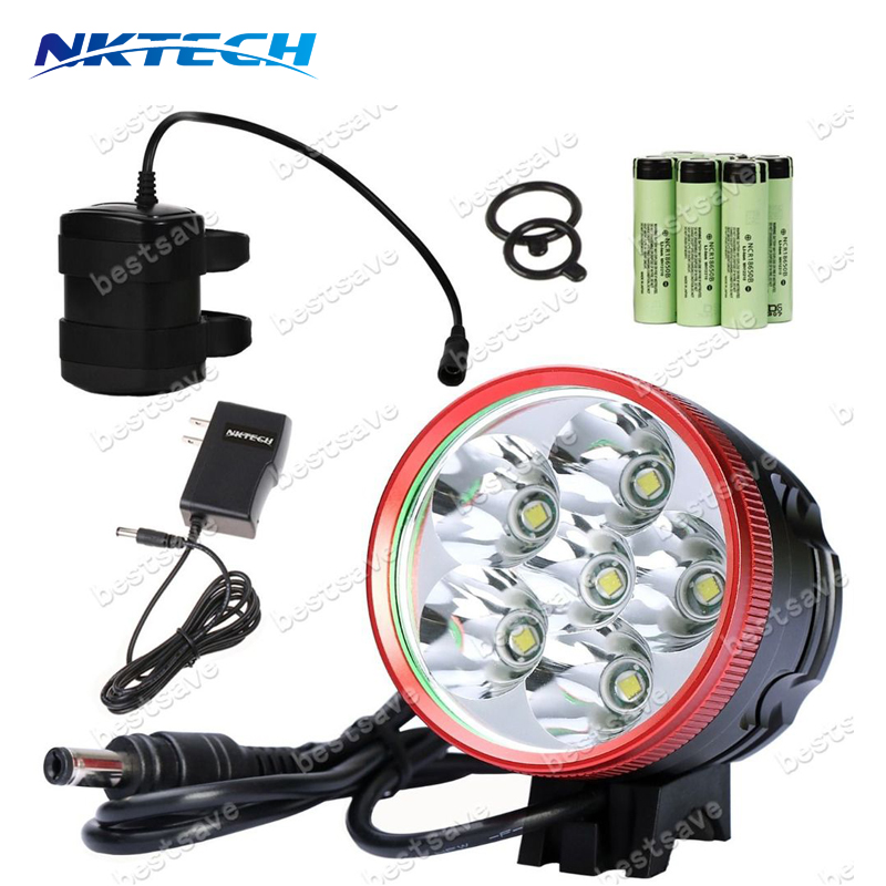 NKTECH N6 6x T6 LED Cycling Bike Bicycle Front Headlamp Headlight Lamp Light U2 Torch +15000mAh Battery + 8.4V Power Adapter waterproof 2000 lumen led cree xml2 u2 led cycling bicycle bike usb 18650 light lamp headlight headlamp headlight strips charger