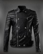 Free shipping ! Autumn motorcycle leather jacket man double-breasted leather coats mens jackets singer dance stage