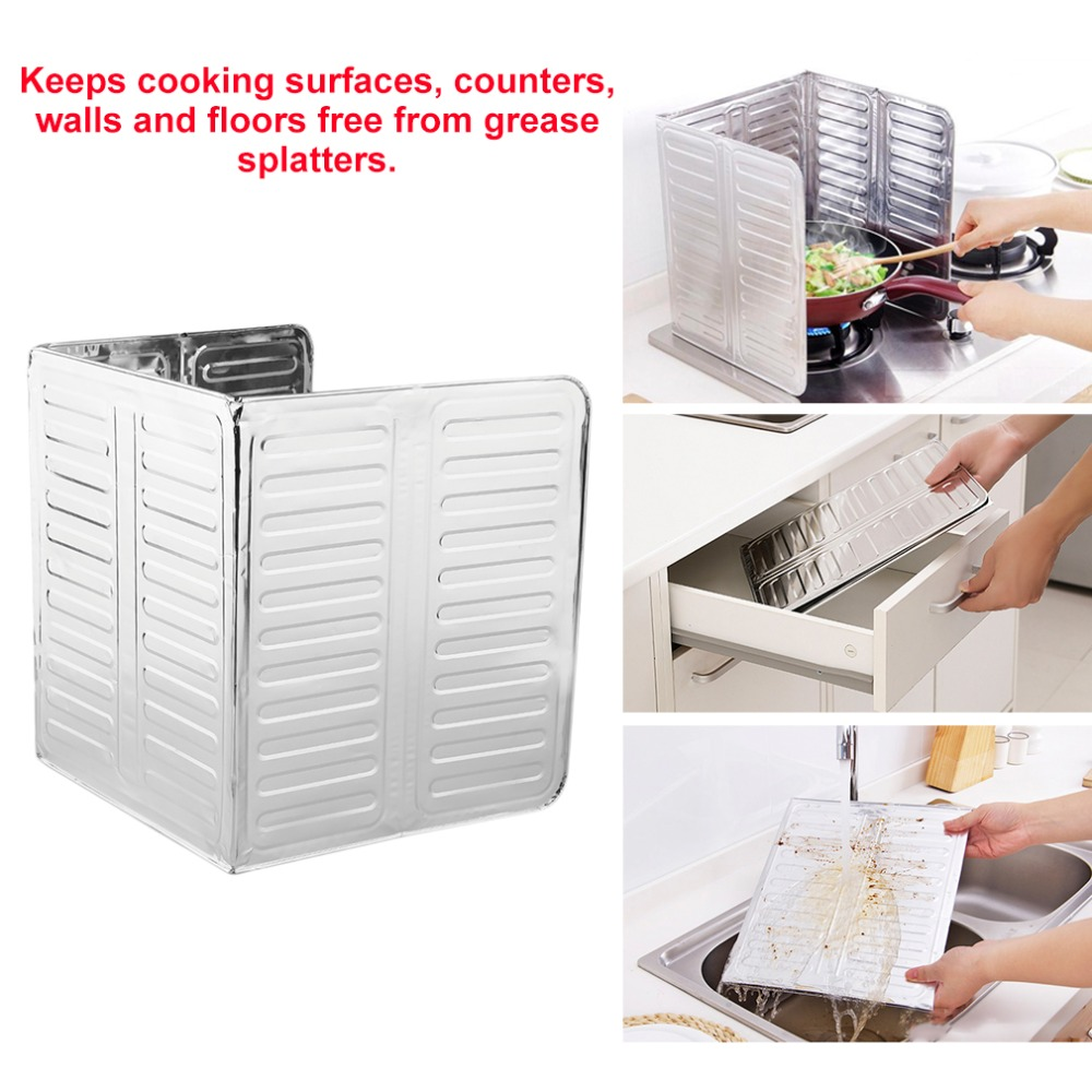 Novelty 84*32.5cm Kitchen Aluminum Foil Cooking Frying Pan Oil Splash Screen Cover Anti Splatter Shield Guard Oil Divider