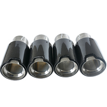 Free shipping 4PCS Brand New Car Carbon Fiber SUS304 Stainless Exhaust End Tail Tips 2 5