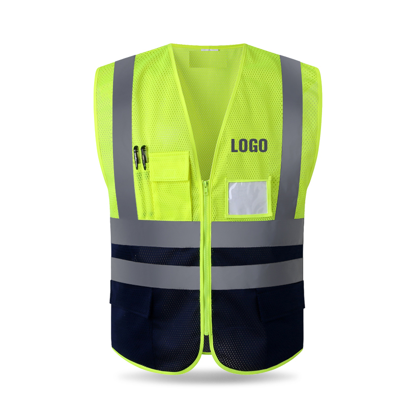 Reflective Polyester Mesh Vests With Pockets For Construction Worker In Summer Silk Screen Company Logo Printing Safety Clothing Workplace Safety Supplies